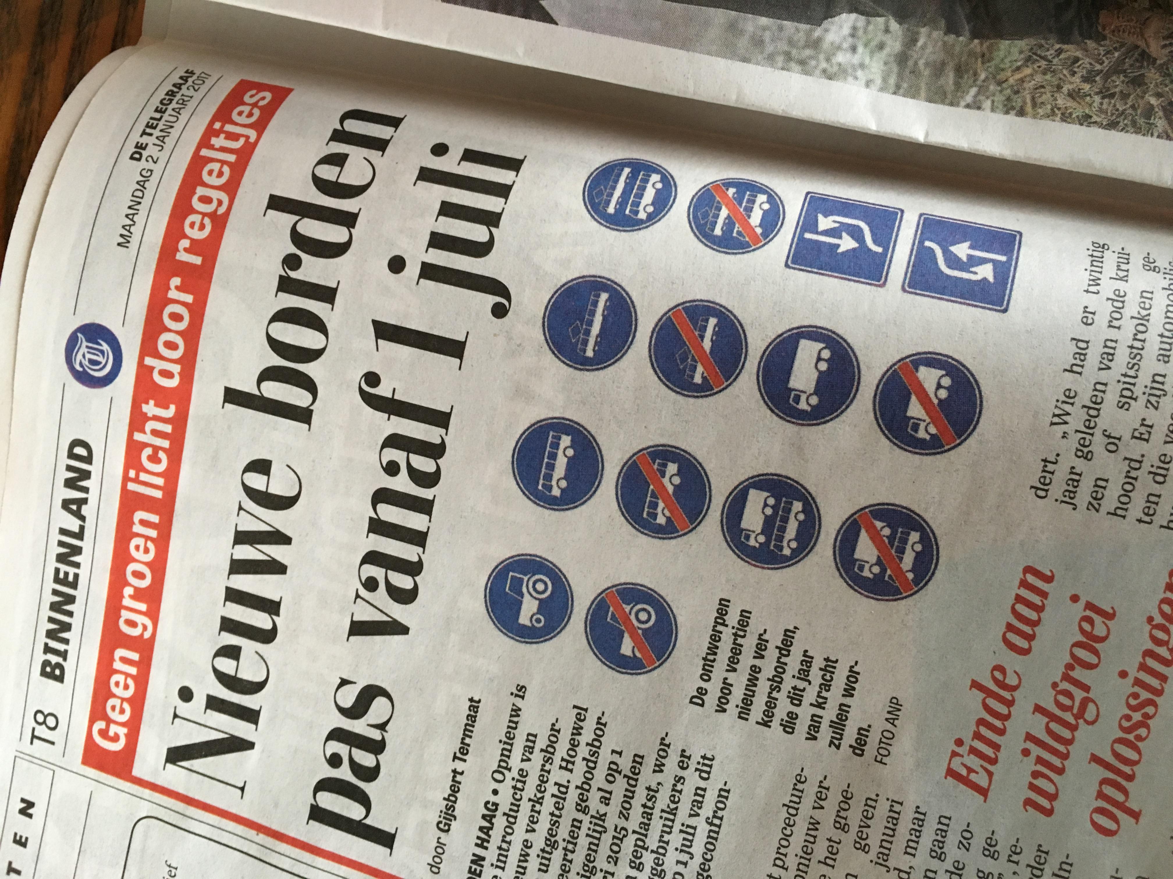 Ronnico Nieuws: introductie nieuwe borden uitgesteld